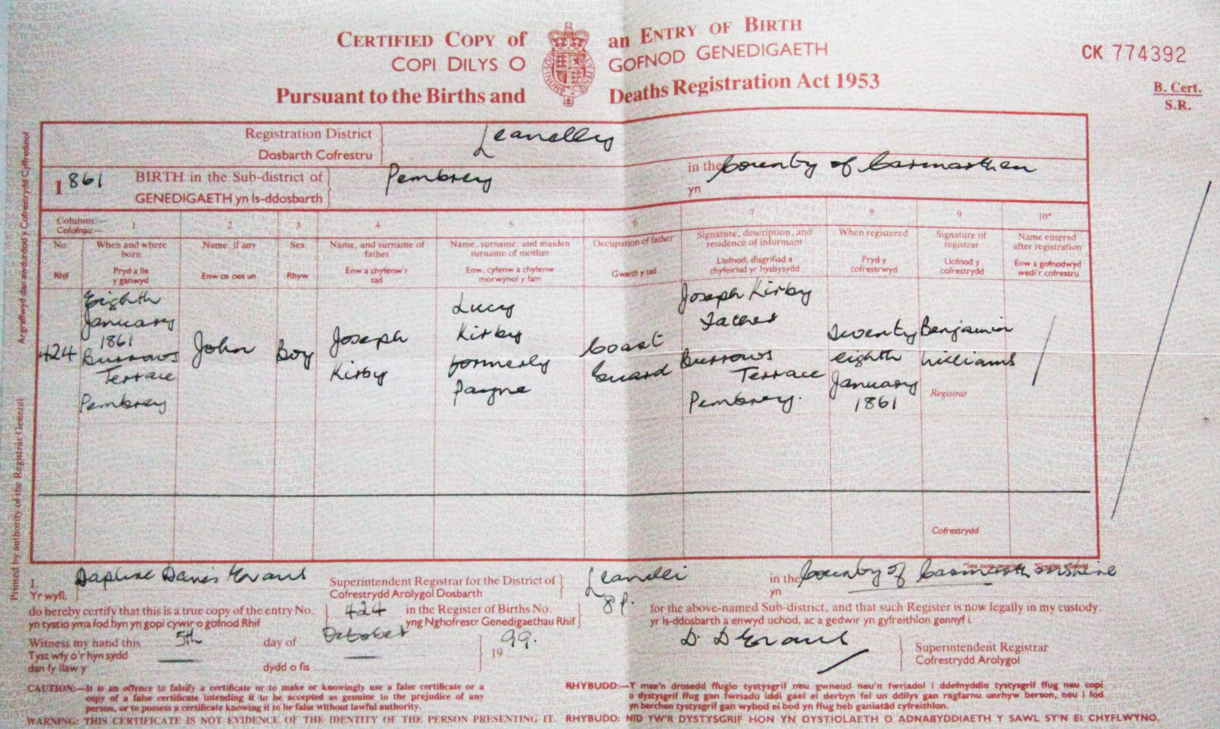 Birth certificate for John Kirby